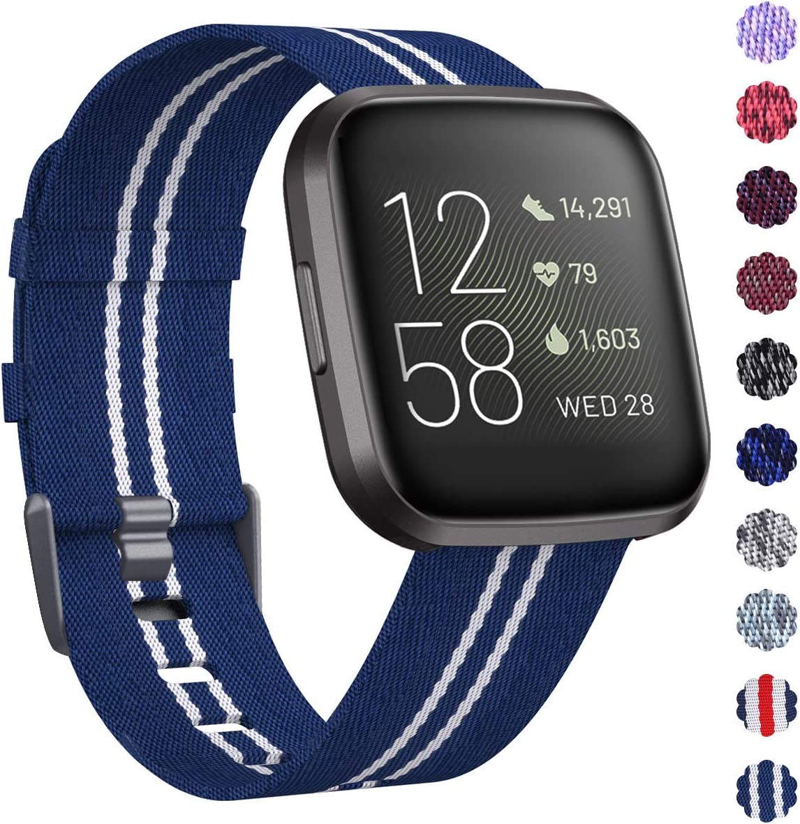 KIMILAR Woven Band Compatible with Fitbit Versa/Fitbit Versa 2/Fitbit Versa Lite Edition, Large Small Woven Fabric Breathable Men Women Versa ...