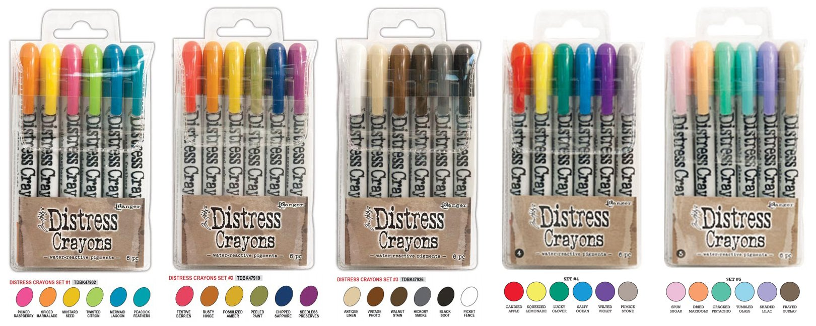 Ranger Tim Holtz Distress Crayons Bundle: Sets 1, 2, 3, 4, and 5