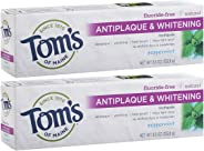 Tom's of Maine Antiplaque and Whitening Pasta dental sin fluoruro, Blanco, 5.5 Ounce (Pack of 2)