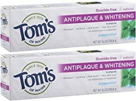 Tom's of Maine Fluoride-Free Antiplaque & Whitening Toothpaste, Whitening Toothpaste, Natural Toothpaste, Peppermint,...