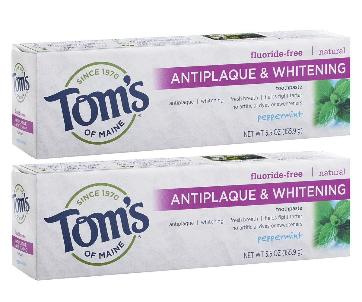 Tom's of Maine Fluoride-Free Antiplaque & Whitening Toothpaste, Whitening Toothpaste, Toms Toothpaste, Peppermint, 5.5 Ounce, 2-Pack