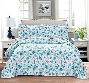 Summer Coastal Quilts Starfish Seashell Conch Coverlet Set King Size,3Pcs Lightweight Beach Bedspreads Reversible Ocean Bedding Pillow Shams,Blue Red