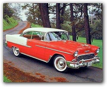 Amazon De 1955 Chevy Bel Air Hard Top Classic Rot Vintage Poster Kunstdruck 40 X 50