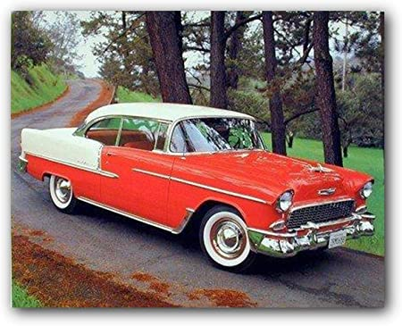 Amazon Com 1955 Chevy Bel Air Hard Top Classic Red Vintage Car Wall Decor Art Print Poster 16x20 Posters Prints