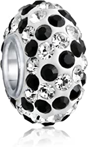 Solid Stripe Color Pave Crystal Spacer Bead Charm For Women Teen Fits European Charm Bracelet 925 Sterling Silver Core