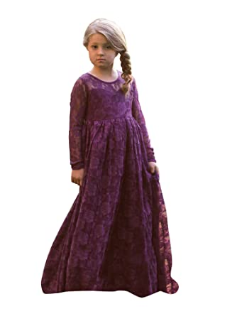 1f8efe1a4b1 Just Couture Little Girls Dark Purple Lace Cut-Out Back Floor Length Flower  Girl Dress