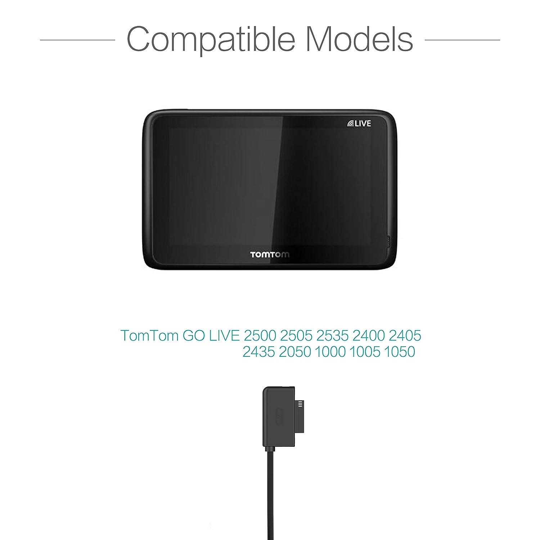 TUSITA Cargador para Tomtom GO Live 2500 2505 2535 2400 2405 2435 2050 1000 1005 1050 - USB Cable De Carga 200cm - GPS Accesorios