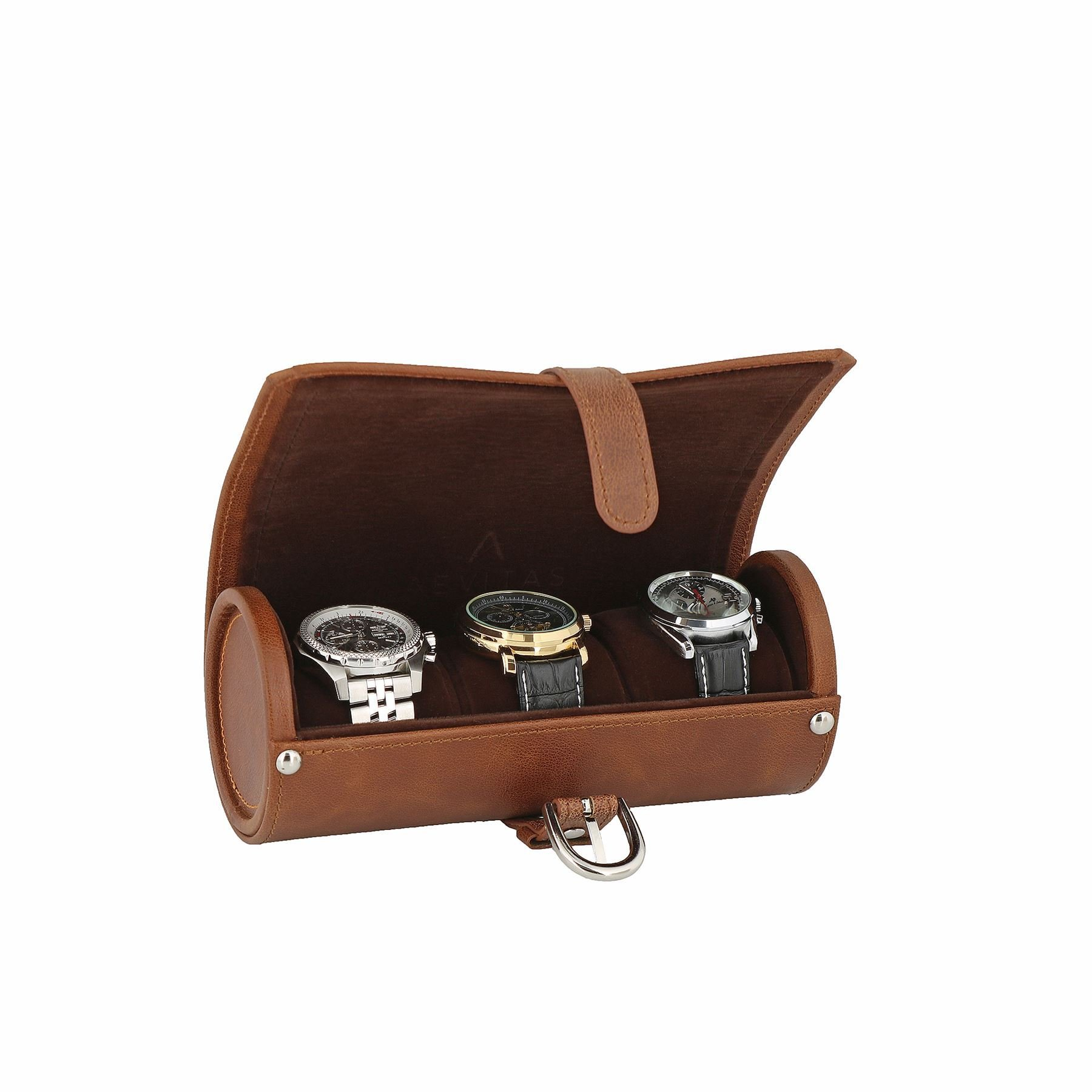 Genuine Brown Leather Watch Travel Roll 3 Watches Deep Brown Velvet Lining by Aevitas