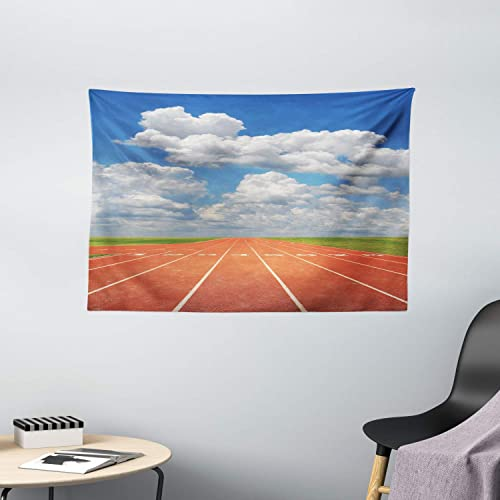 Ambesonne Olympics Tapestry, Sports Competition Running Track on a Sunny Day Lawn Grass Field Cloudy, Wide Wall Hanging for Bedroom Living Room Dorm, 60 X 40 , Sky Blue