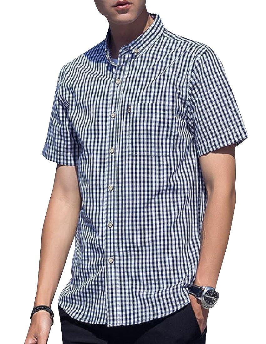 YUNY Men Twill Classic Plaid Oversized Button Down Woven Shirt Black XS