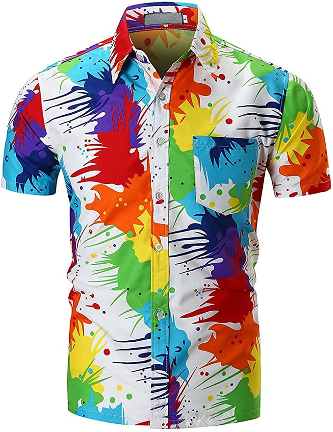 Easytoy Mens Casual Fit Button Down Shirts Short Sleeve Shirts Western Dress Shirt