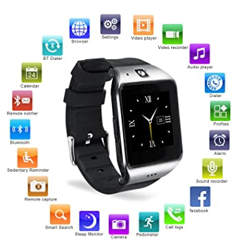 HAMSWAN Smartwatch Bluetooth, [Regalo] Reloj Inteligente Bluetooth para Móvil iOS/Andriod, Multi-Idioma con Cámara, Soporta TF SIM Facebook Whatsapp ...