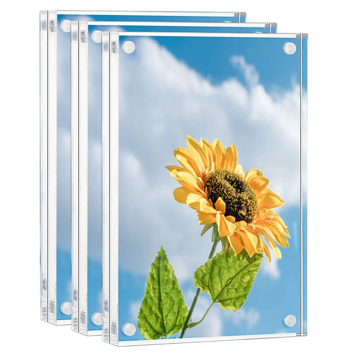 ONE WALL Acrylic Picture Frame Set, 3 Pcs 5x7 Inch Magnetic Clear Photo Frame Free Standing for Tabletop Desktop Display