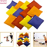 "Adorox Set of 12 Assorted 5"" Nylon Bean Bags Cornhole Primary Colors Carnival Game"
