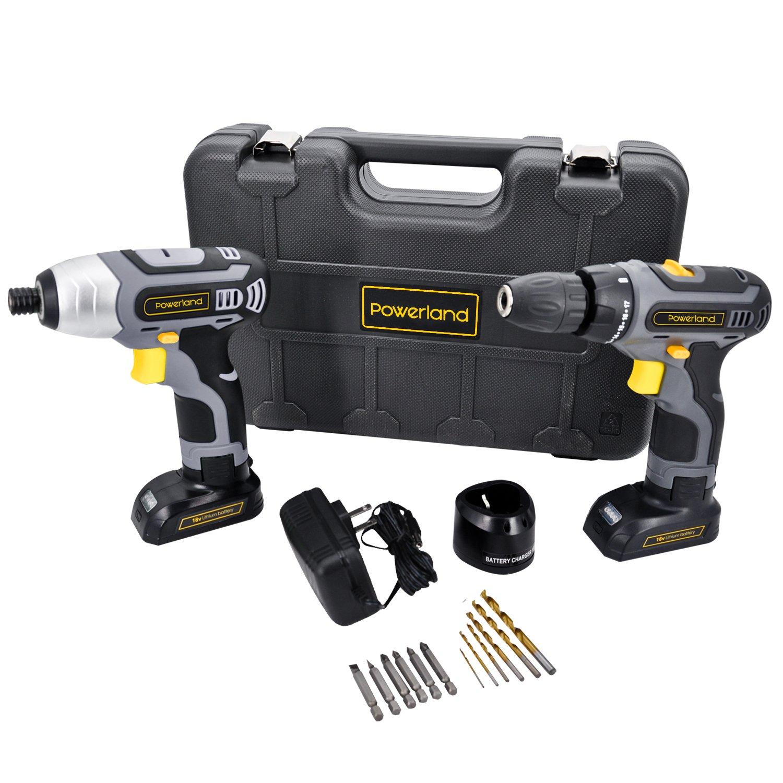 パワーランド (Powerland) 電動工具セット D011コードレスドリルドライバー+IS02インパクトドライバー 電池2個 充電器2個 ビット6本 ツイストドリル6本 B07BHHSXZD