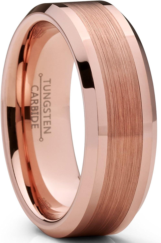 Pour Homme Int/érieur Confort bross/é Ultimate Metals Co./® 8MM Bague de mariage en Carbure de tungst/ène avec rose ton