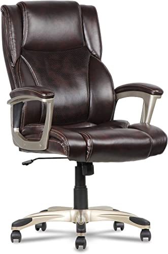 Leather Office Chair High Back Executive Computer Desk Chair with Memory Foam Adjustable Built-in Lumbar Support for Females Males, Office Home Use Brown-2