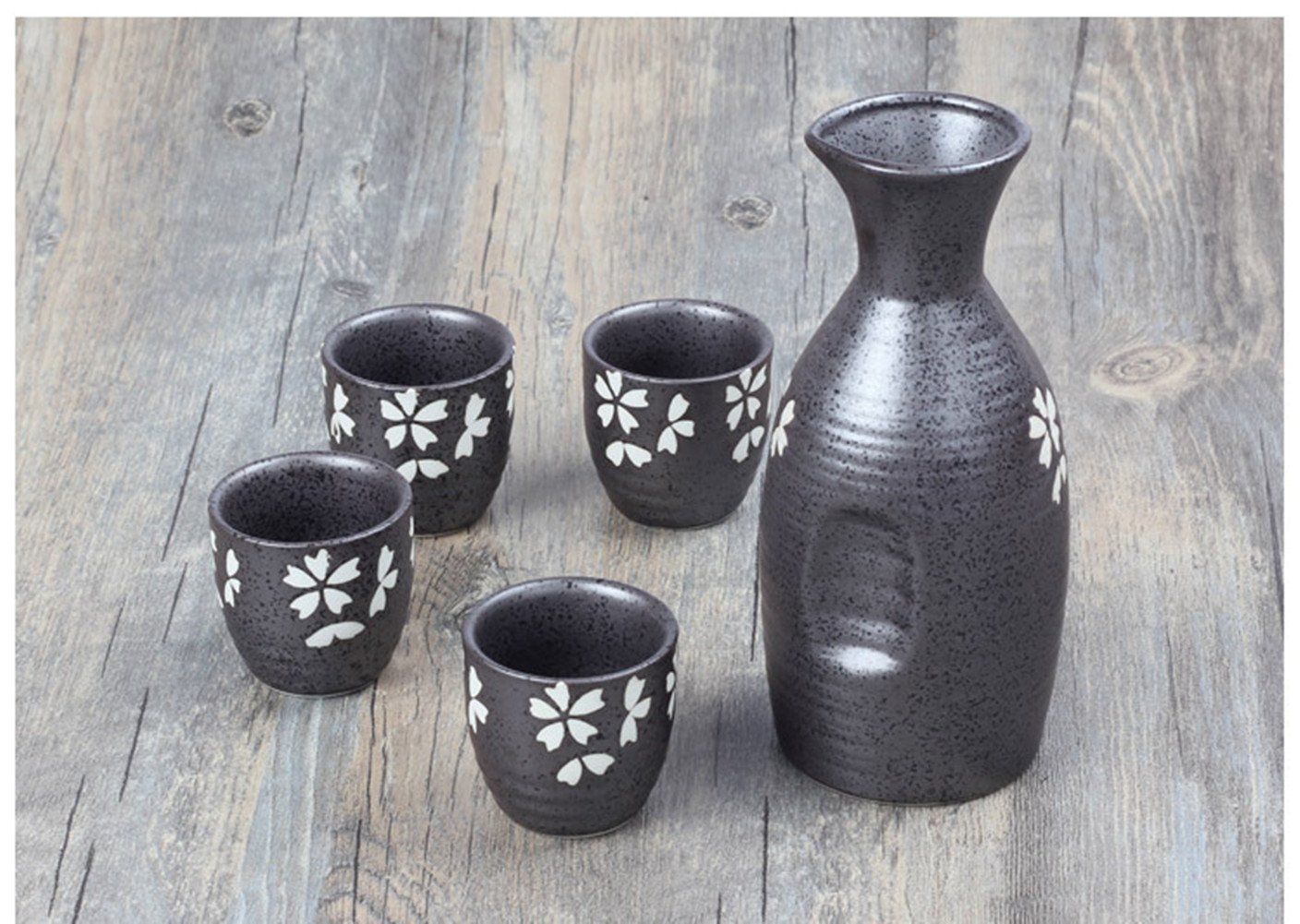 Miyare Japanese Style Ceramics Wine Set – 1 Sake Pot & 4 Cups, Six Different Patterns for Choice (Beauty of clay) NQ-JJL-0114-5