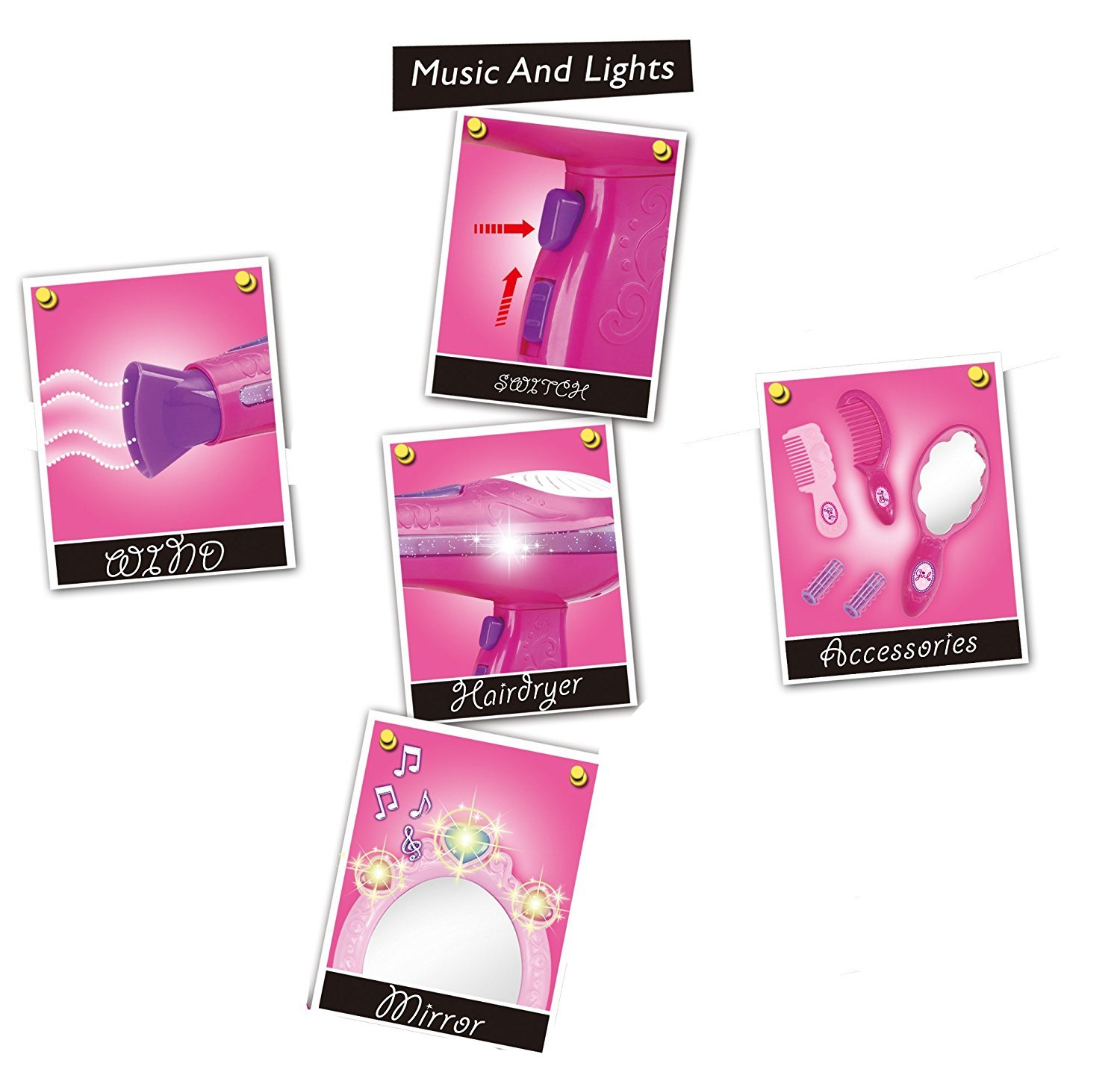Liberty Imports Vogue Girls Beauty Salon Fashion Play Set with Hairdryer, Mirror & Styling Accessories by Liberty Imports (Image #5)