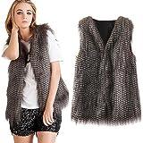 Dikoaina Lady Girls Faux Fur Vest Waistcoat Winter Warm Long Hair Coat Outwear