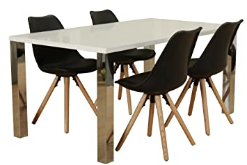Dynamic24 5tlg Essgruppe Esstisch Esszimmer Stuhl Stuhle Tisch