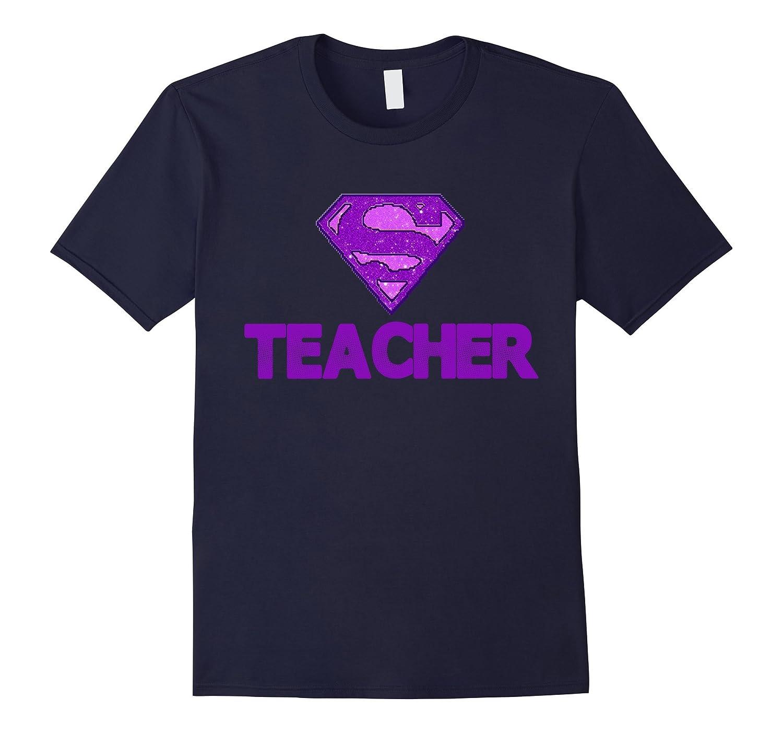 Womens Fashion T-shirt with Super Teacher in Rhinestones-CL