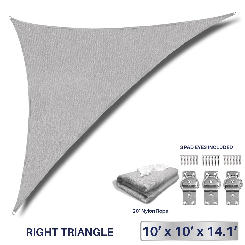 Windscreen4less 10' x 10' x 14.1' Sun Shade Sail Triangle Canopy in Light Grey Commercial Grade (3 Year Warranty) Customized