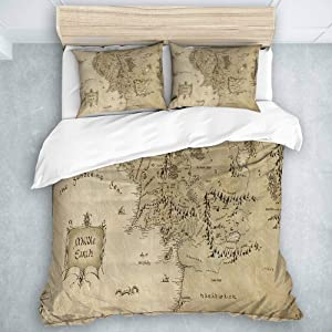 MOASTORY 3 Piece Duvet Cover Set, Lord of The Ring Map of Middle Earth, Boys Children Bedding Collection, Twin Size
