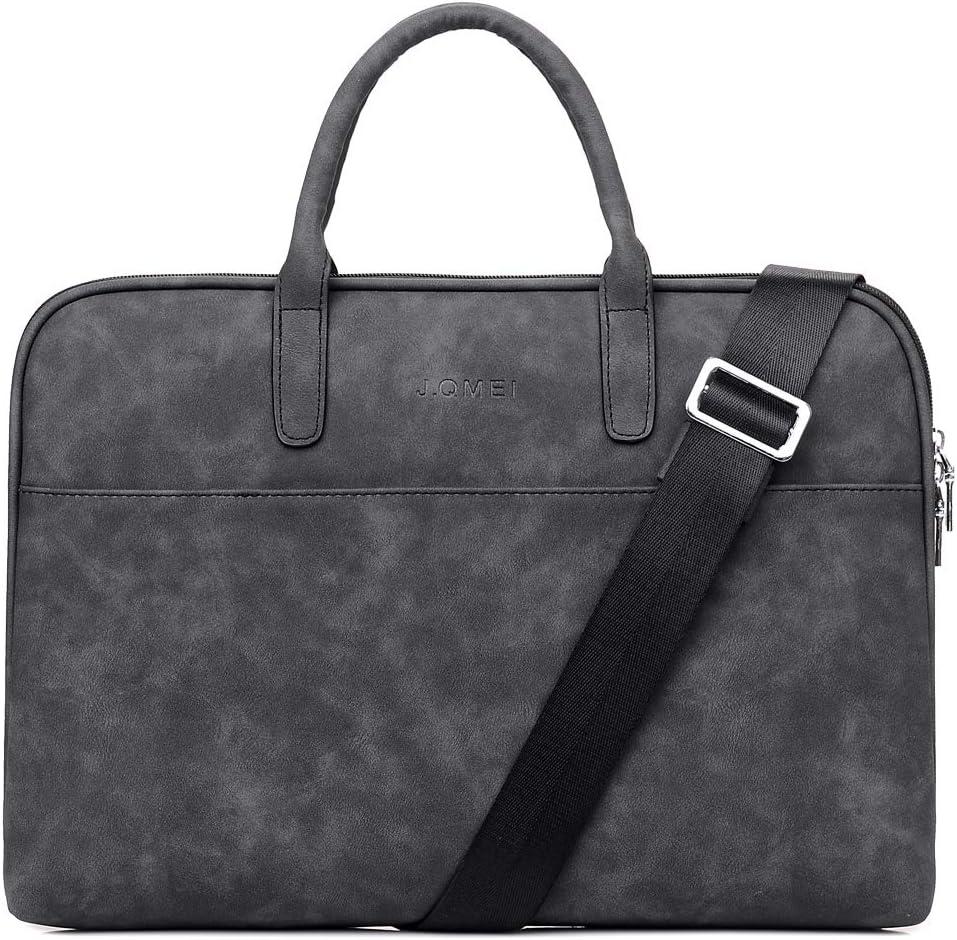 SHUL Leather Laptop Shoulder Bag 14.6 inch Computer Case Sleeve Business Office Briefcase Messenger Bags Handbag for Women Ladies Black