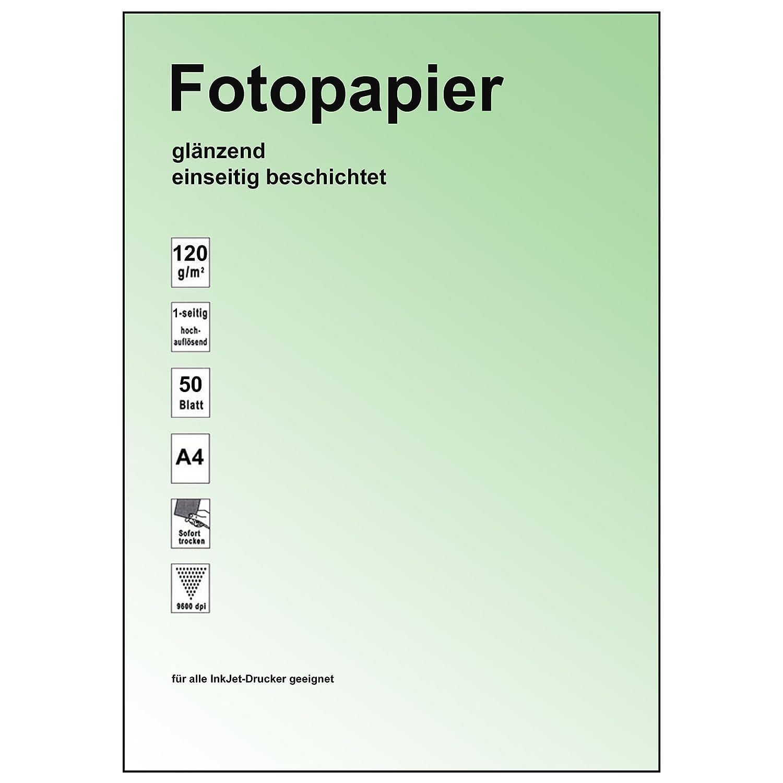 50 Feuilles de papier photo brillant 9600dpi brillant-taille 120 g//m /²-format a4 surface s/échage rapide-mise au point pr/écise-bonne qualit/é