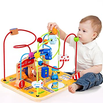 Large Wooden Bead Maze First Toddlers Learning Toy Activity Center Educational Toys For Baby Activity Center