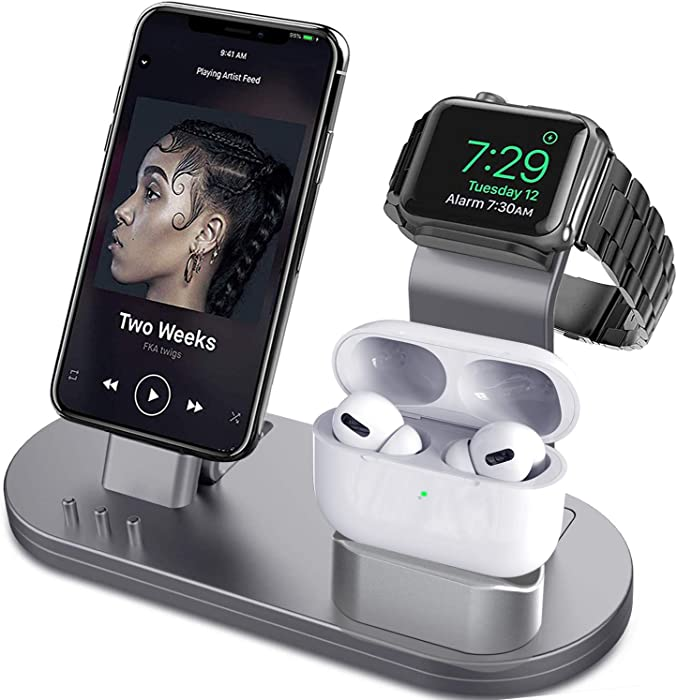OLEBR 3 in 1 Charging Stand Compatible with iWatch Series 5/4/3/2/1, AirPods and iPhone 11/11 Pro/11 Pro Max/Xs/X Max/XR/X/8/8Plus/7/7 Plus /6S /6S Plus(Original Charger & Cables Required) Space Gray