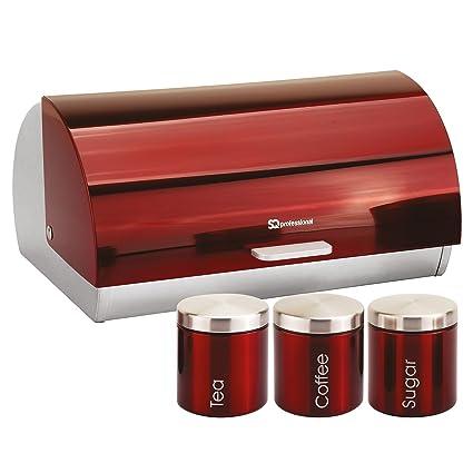 Smart Bread Bin & Canister Set Coffee Sugar Tea Stainless Steel Jar Holder Kitchen Cookware, Dining & Bar