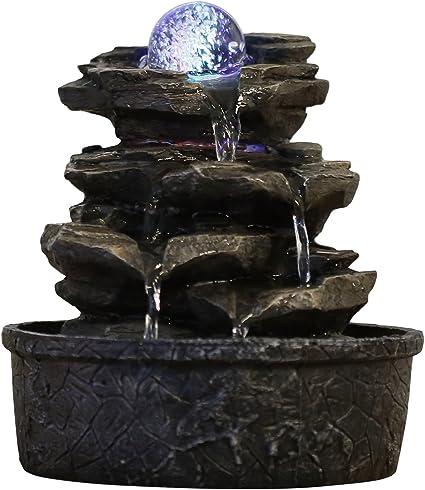 Oferta amazon: Zen'Light Little-Rock - Fuente de polirresina de Color marrón Oscuro, 20x 20x 23cm, Efecto Roca