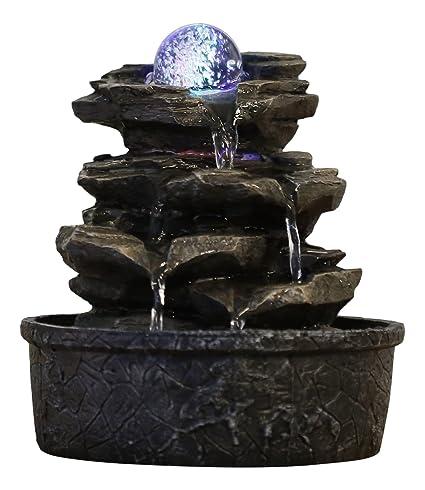 Fontane Zen Vendita.Zen Light Fontana A Forma Di Roccia In Poliresina Colore Marrone Scuro 20 X 20 X 23 Cm