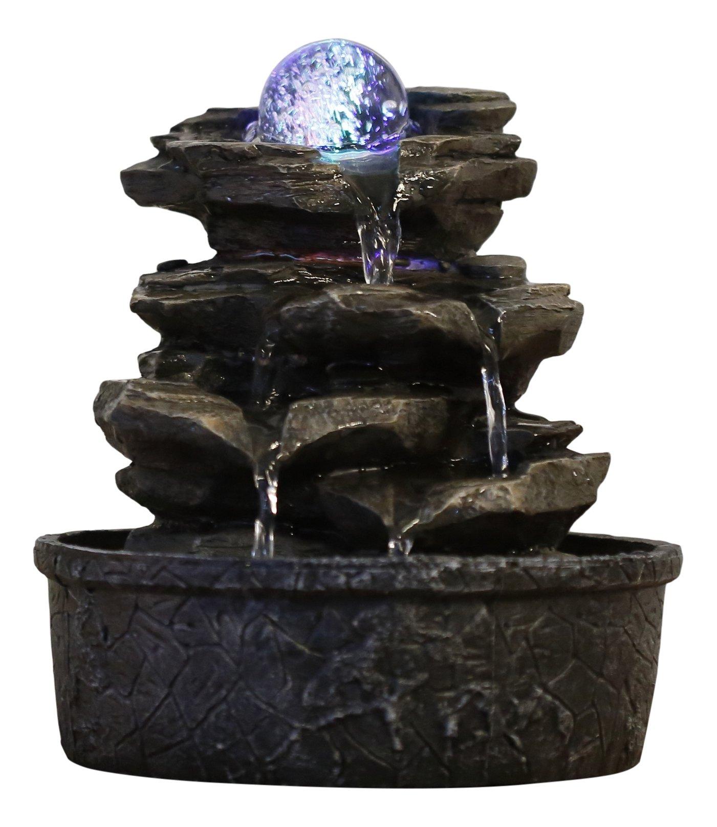 ZenLight Little-Rock - Fuente de polirresina de Color marrón Oscuro, 20