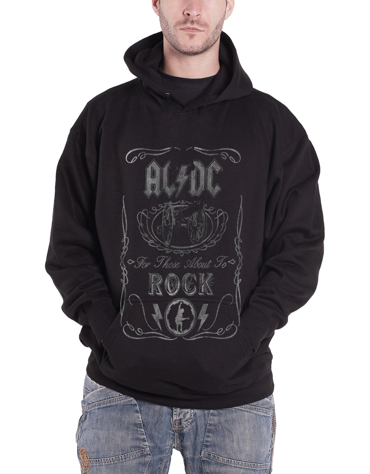 AC/DC 'Cannon Swig' Pull Over Hoodie (small)