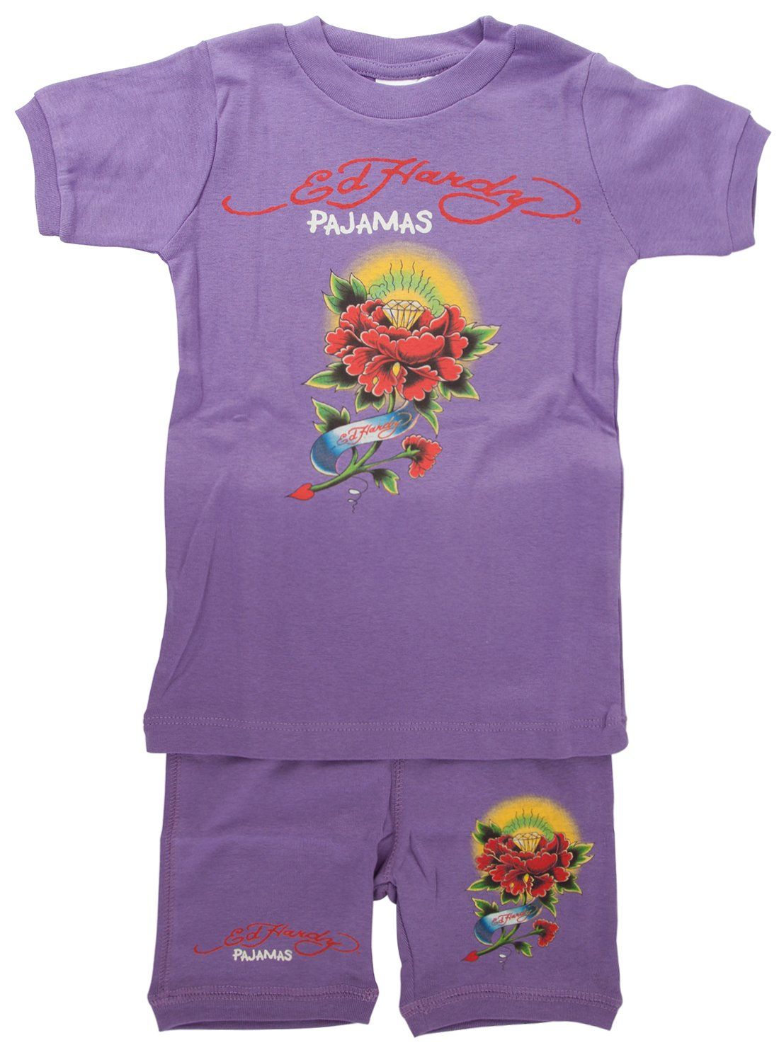 Amazon.com: Ed Hardy Little Girls Tattoo Graphic Short Sleeve Pajama Set: Clothing