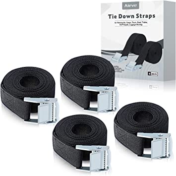 6 Pack Black Lashing Straps 2 x 1 Black Tie Down Straps up to 600lbs