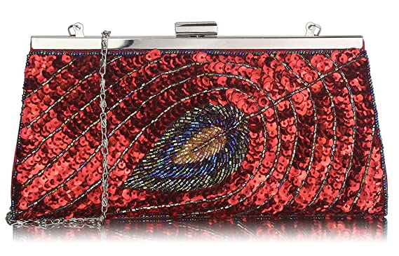205aa2255a Ladies Quality Sequin Peacock Feather Design Clutch Bag Women's Fashion  Designer Elegant Evening Party Bag CWE00295