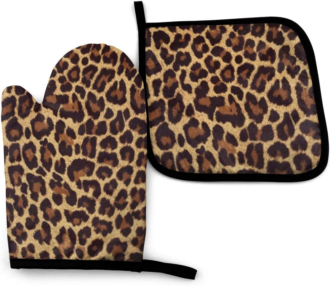 TOLUYOQU Oven Mitts Leopard Print Non-Slip Heat Resistant Kitchen Oven Gloves with Potholder for Cooking Baking