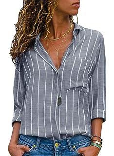 AitosuLa Chemisier Femme Blouse Rayures Col V Casual Mode Tunique Haut Top  Shirt… e89359f225d3