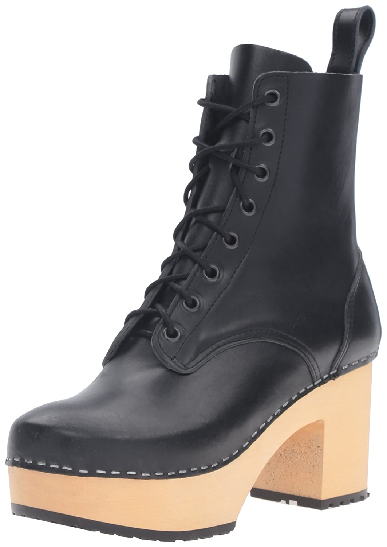 swedish hasbeens Women's Lace up Plateau Boot B01GJGNCSU 10 B(M) US|Black