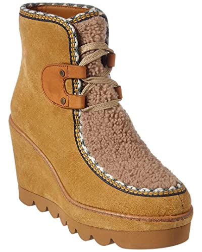 3eb33745792 Amazon.com: See by Chloe Suede & Shearling Wedge Bootie, 39, Brown ...