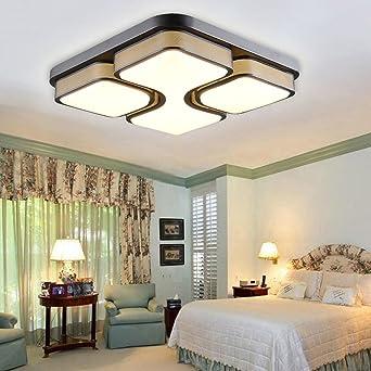 ETiME 24W Design LED Deckenlampe Warmweiß LED Deckenleuchte Wohnzimmer  Lampe Schlafzimmer Küche Leuchte 2700K Schwarz Quadratform