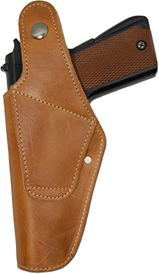 New Barsony Brown Leather Belt OWB Holster for Ruger Full Size 9mm 40 45