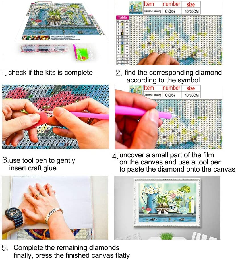 5D Diamond Painting Full Drill Number Kit for Adults and Kids,Embroidery Cross-Stitch Arts Craft Canvas for Home Wall Decor CK076