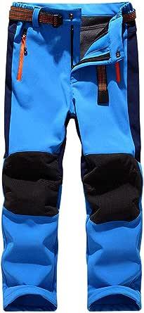 LANBAOSI Pantalones de invierno Softshell para niños con forro polar impermeable para caminar y senderismo con bolsillos con cremallera