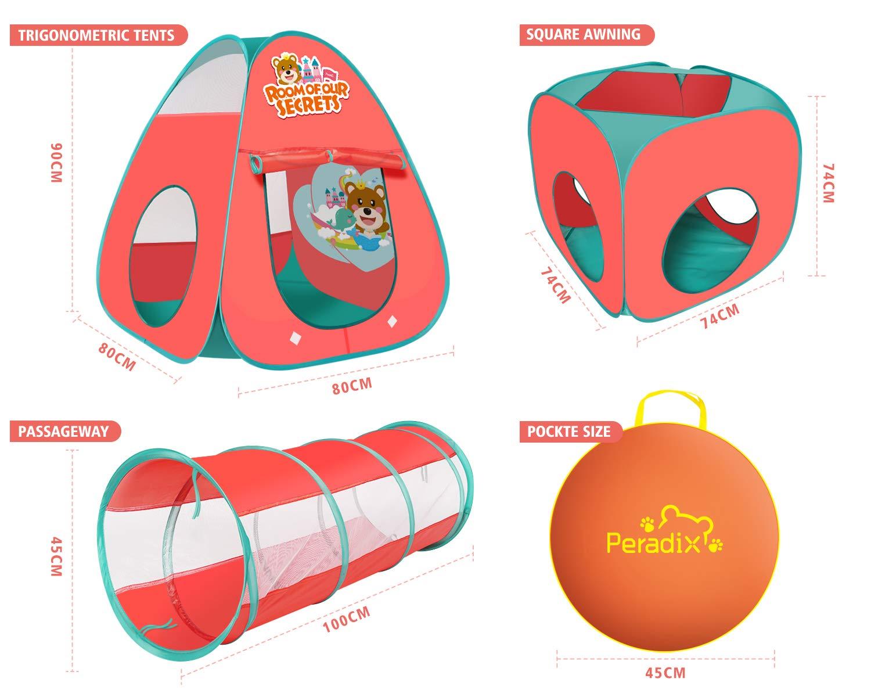 Peradix Túnel del Juego Infantil,3 en 1 Túnel del Juego y la Tienda de Campaña,Pop Up Tienda Campaña para Niños Interior Exterior Playhouse con Cuadro ...