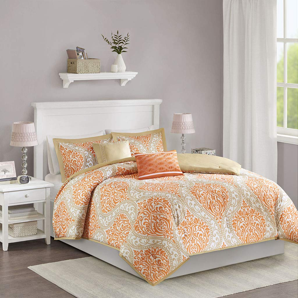Intelligent Design Senna Comforter Set Full/Queen Size - Orange/Taupe, Damask - 5 Piece Bed Sets - All Season Ultra Soft Microfiber Teen Bedding